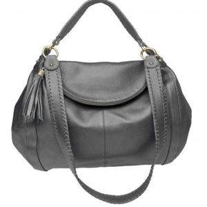 Onna Ehrlich Gray Leather Oversized Hobo Bag